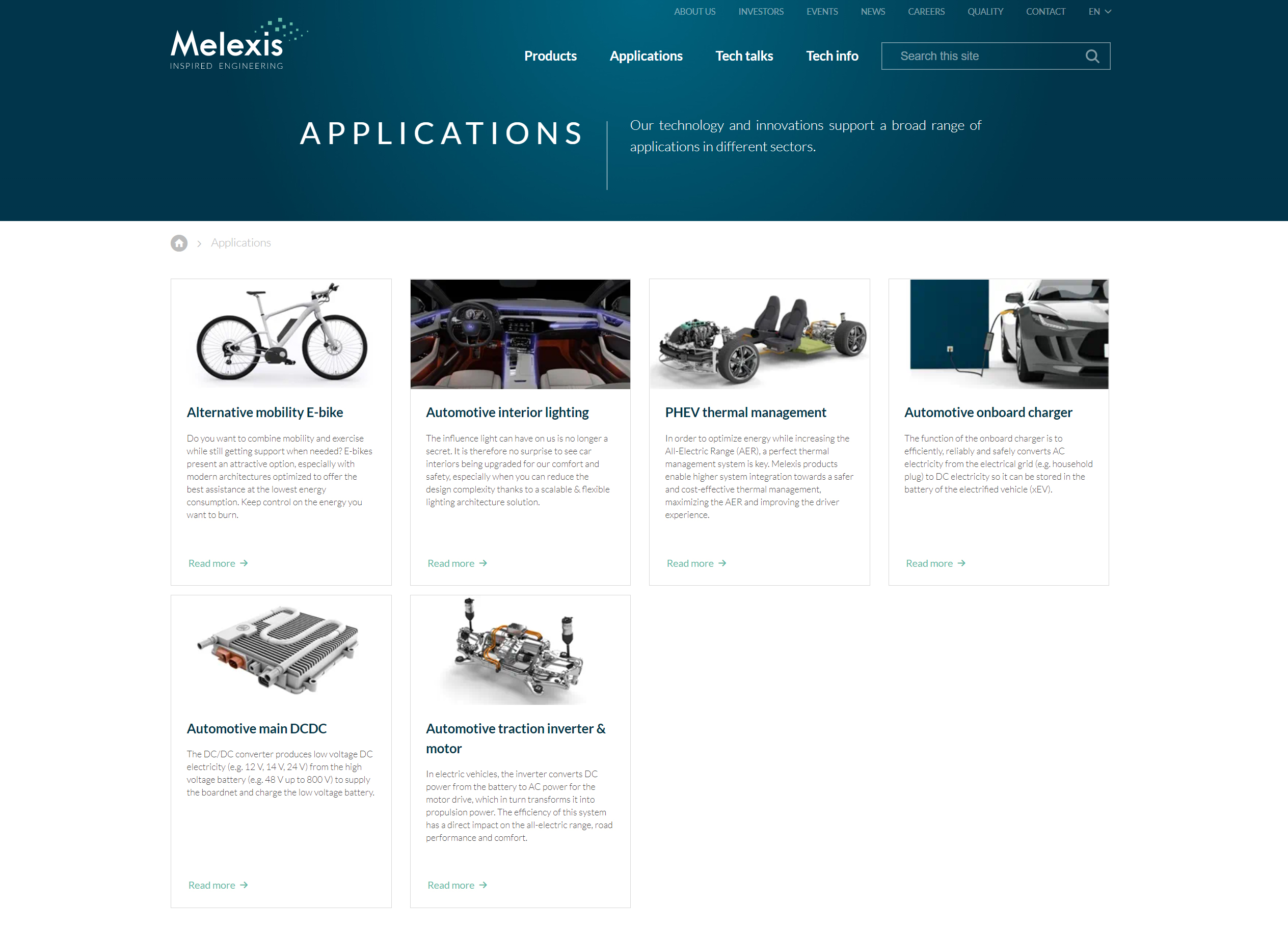 Applications page #Melexis