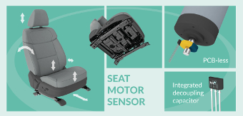 PCB-less Hall-effect latch for seat motor positioning in automotive applications - Melexis
